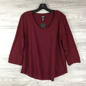Jones New York Burgundy Long Sleeve Top